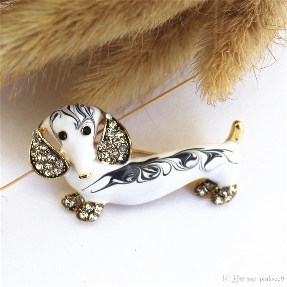 Regalo sveglia all'ingrosso dello smalto strass Cartoon bassotto Spilla Pin Spilla Animal monili delle donne popolare Jewelry