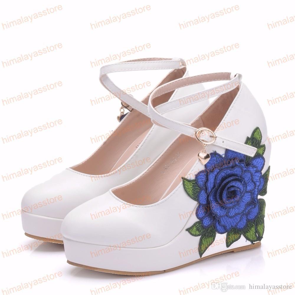 المرأة أسافين الأحذية الدانتيل الأزرق زهرة عالية الكعب سيدة مضخات حزب أحذية 11 سنتيمتر كعب الزفاف الدانتيل الأحذية حجم كبير