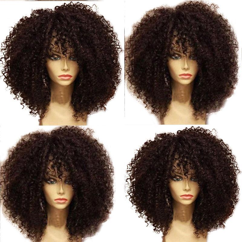 250 Плотность Kinky завитые фронта шнурка человеческих волос парики с ребенком волос Pre щипковых Бразильское Remy Короткие волос Боб парик Fringe