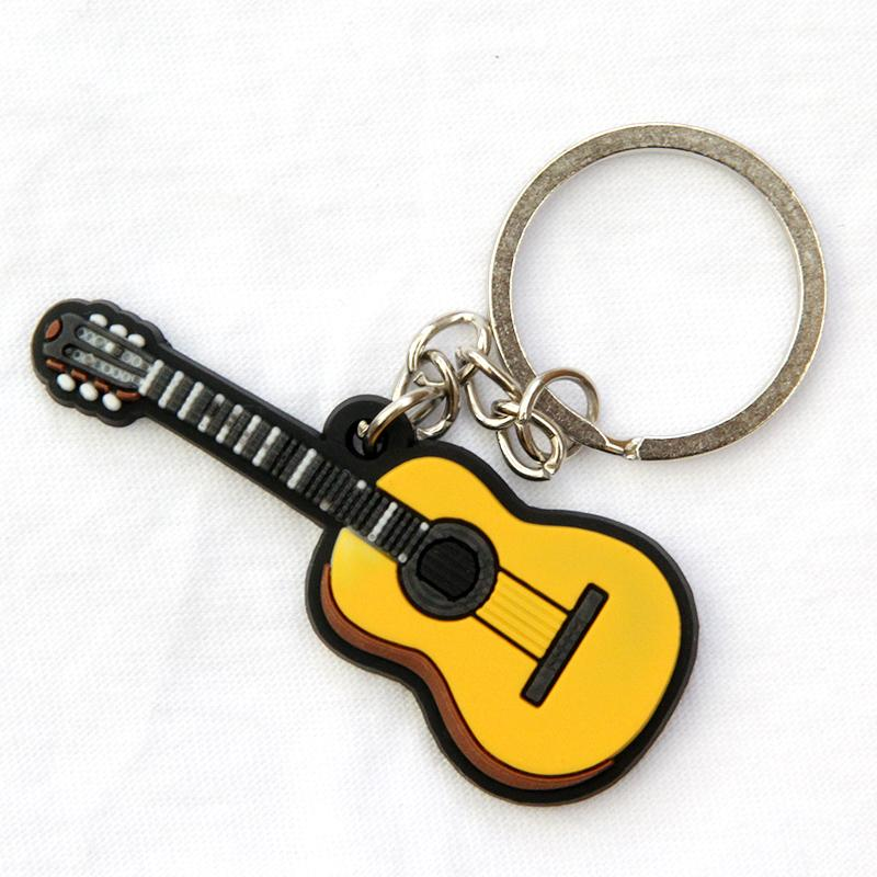 FREE SHIPPING BY DHL 100pcs/lot Novelty Silicone Classical Guitar Shaped Keychains Music Instrument Keyrings for Concert Gifts