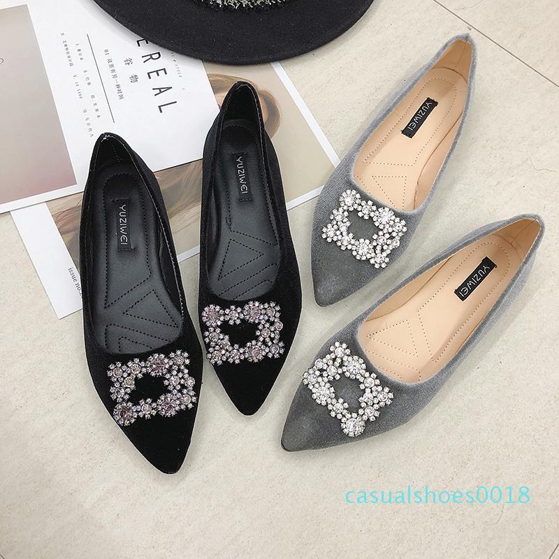 Slittamento Primavera Donna Flats strass sulle scarpe di velluto piatte Designer Shoes Ladies Dress zapatos mujer singolo C18