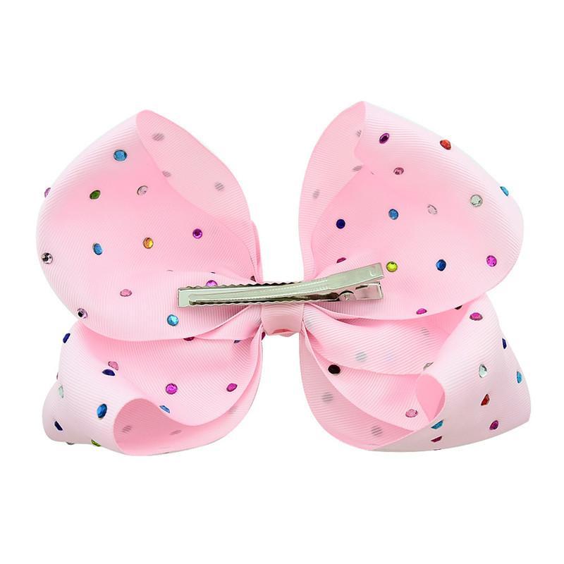 2019 Ins младенец 8 дюймов JoJo лук Cute Bowknot Шпилька с цветными Алмазного Dril Девушка Bowknots Барретты лента зажим для волос аксессуаров горячей A32705