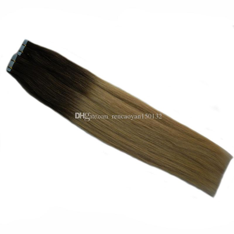 T6/18 Brown And Blonde Ombre Virgin Brazilian Straight Remy Hair 40 PCS Ombre Tape In Human Hair Extensions PU Skin Weft Tape In Hair