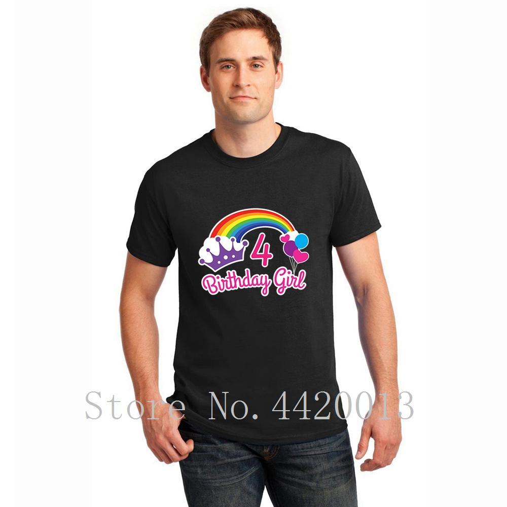 Customized с коротким рукавом S-XXXL девушки радуги принцессы четвёртую день рождения принцессы партия Outfit Spring Vintage Pop Top тройника рубашки мужчины
