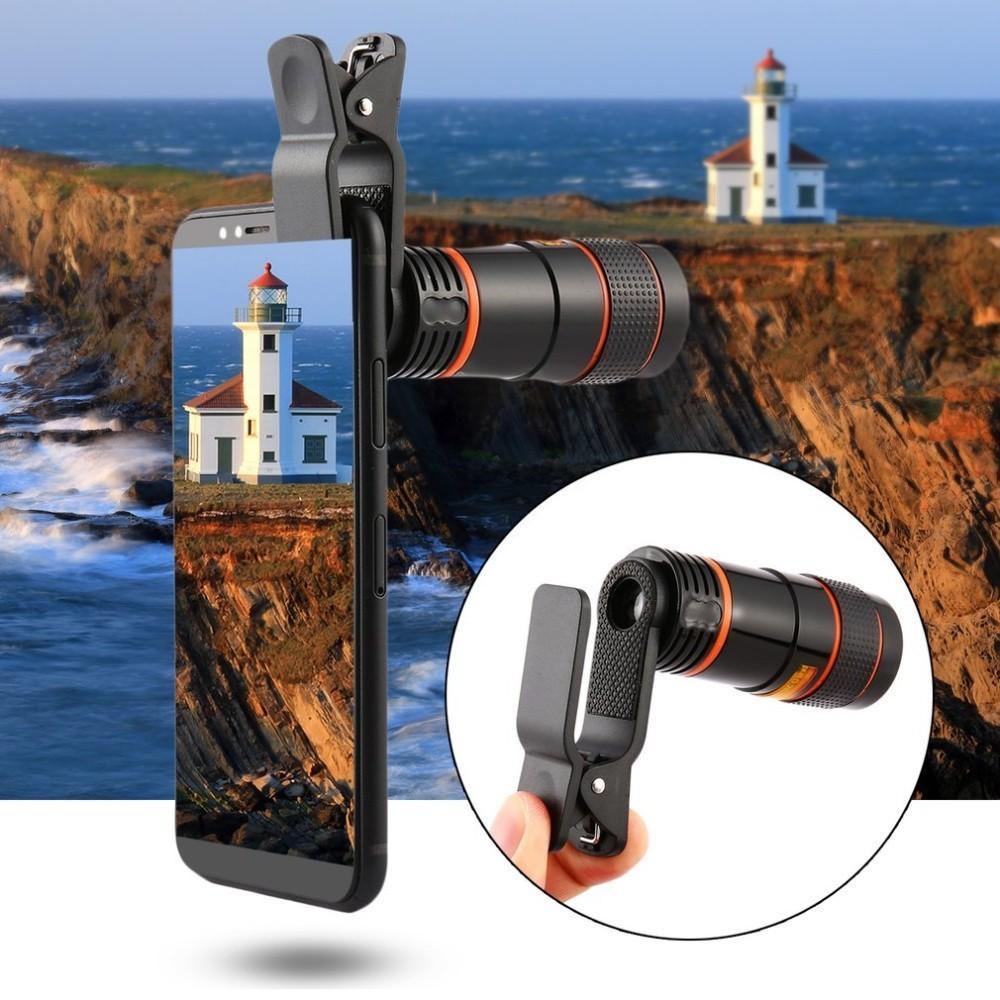 8X 12X Universal Zoom Lens Telephoto Lens Zoom Effect High-definition Lens Long Focus Monocular Phone Telescope for Mobile