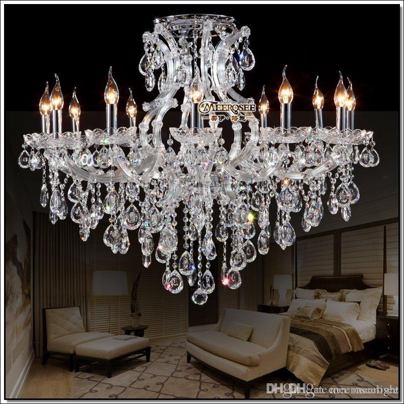Best selling clear crystal chandelier Deckenleuchten big glass cristal chandelier light fitting Project Lighting with 13 light D980mm H750mm