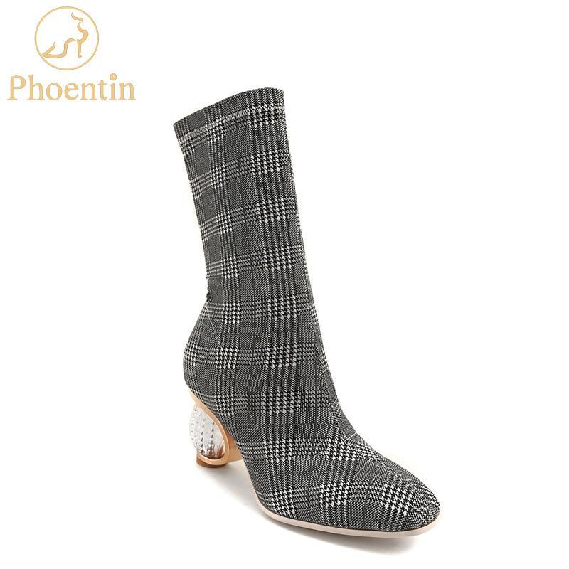 신발 여성 회색 깅엄 여성 부츠 Phoentin 신축성 2,019 슬립은 짧고 긴 부츠 크리스탈 FT463를 디자이너