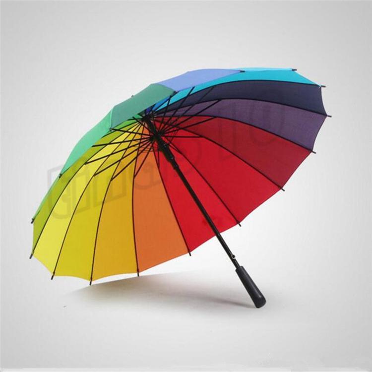 Ladies'Windbreak Цветной Зонт 16K Корейский Творческий Радуга зонтик длинной ручкой Зонт T9I0015