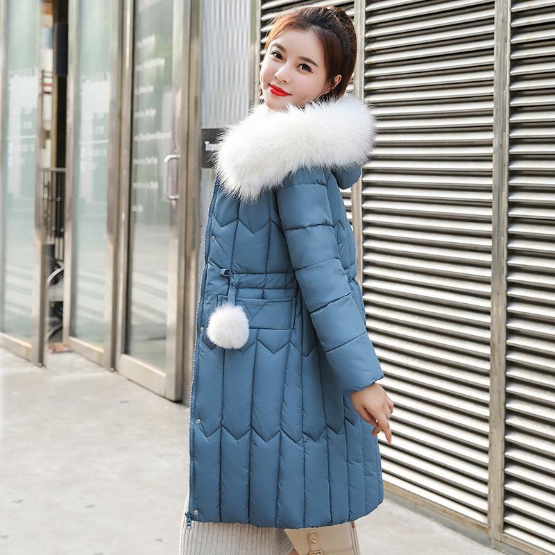 -25 derece Kış Kadınlar uzun parkas ceketler Artı boyutu M-5XL kalın sıcak büyük kürk yaka kadın İnce Sintepon parkas ceket T191021 dış giyim