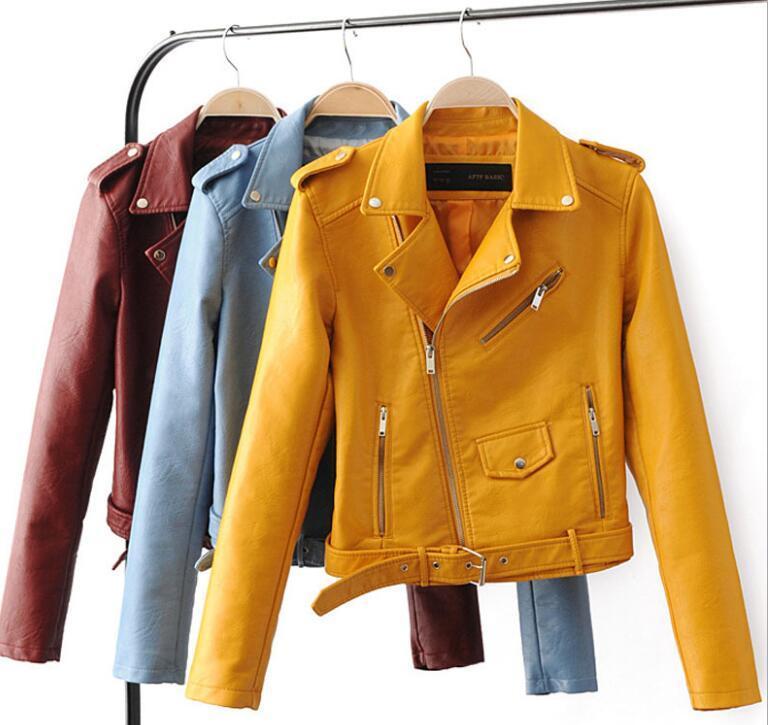 Le donne moda primavera giacca di pelle corta pu sezione a corto cappotto sottile casuale locomotiva Giacca spallina in pelle cintura Coat