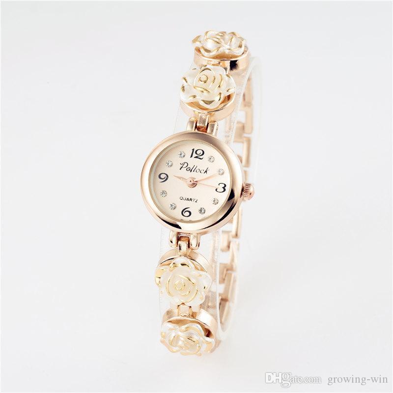 Blumenform Frauen Legierung Armband Damen Uhren Großhandel Umsatz Studentinnen Kristall-Quarzarmbanduhr Uhr Geschenk Kleid