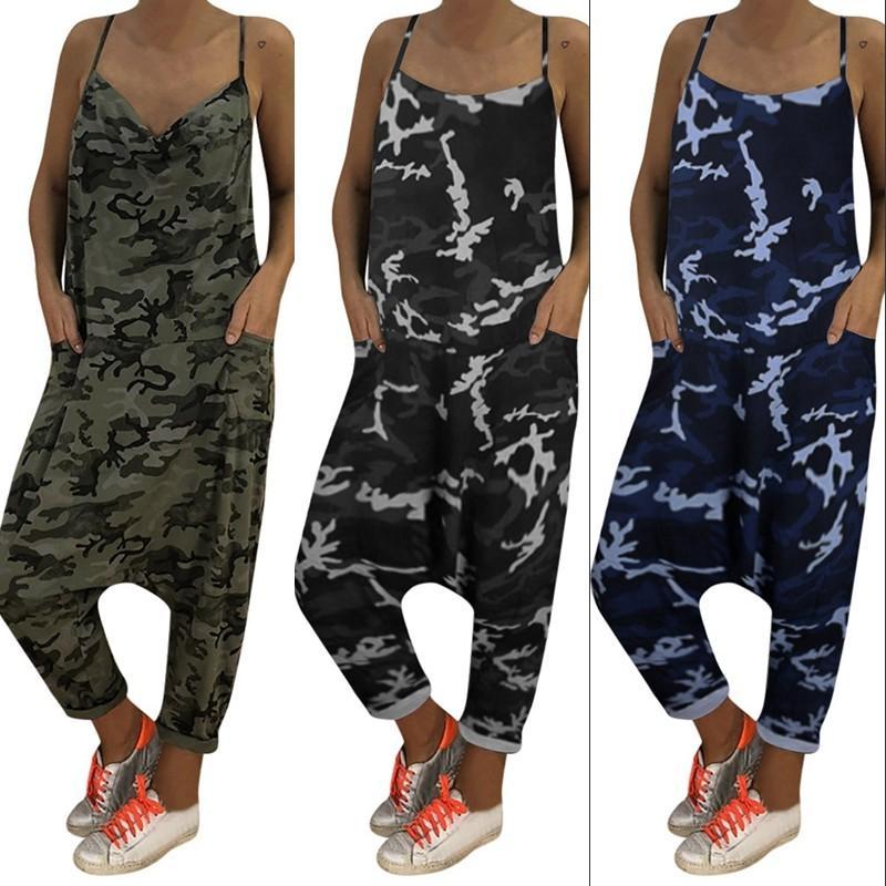 Kadınlar Kamuflaj Gevşek Tulumlar tulum Artı boyutu tulum Herem Pantolon Spor Bol pantolon Seksi Kostümler Kadınlar Yaz Dungarees'de 2020