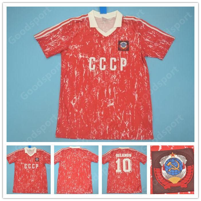 1990 Retro USSR CCCP Soviet Union Jerseys 86 87 Igor Belanov Mascitti Blokhin Soccer 1986 1987 USSR Vintage Classic Calcio calcio calcio