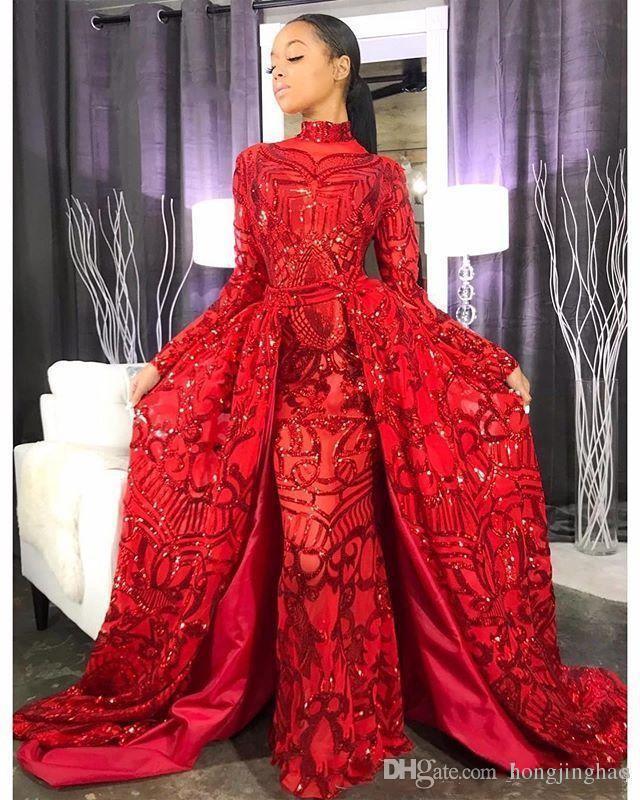 2019 Nuevos vestidos de fiesta con lentejuelas sirena roja y faldas largas desmontables Cuello alto Mangas largas Vestidos de noche modestos Vestidos de fiesta