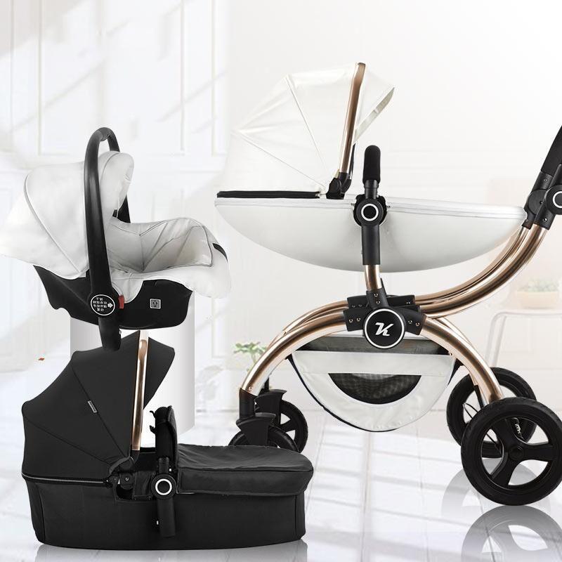 Arabalar # Yüksek Peyzaj Bebek Arabası 3 Araba Koltuğu ile Araba Koltuğu Sepeti Tipi Dört Tekerlekli Katlanır Arabası Borns
