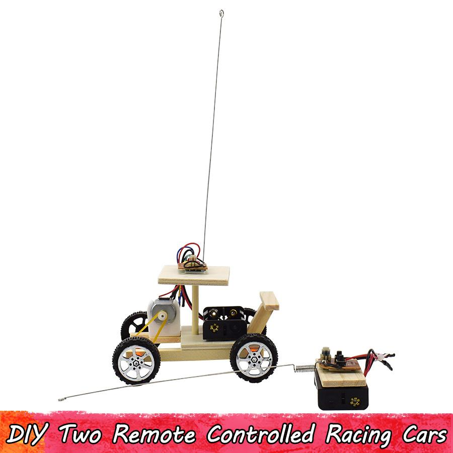 Wooden Science Experiment Assembling Toy Remote Control Racing Car Brain Improve Ability Two-channel Remote Control Racing Cars Gifts