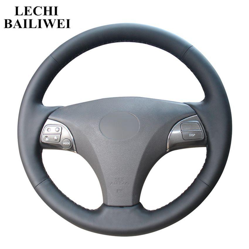 DIY الأسود والجلود مخيط اليد لتوجيه السيارات تغطية عجلة القيادة لسيارات لكزس ES240 ES250 ES300 ES350 لكزس GS350 GS450 2007-2012