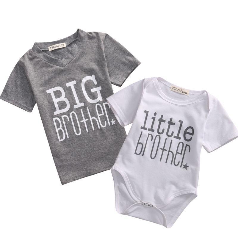 2019 Ağabey Aile Eşleştirme Giyim Küçük Kardeş Pamuk Tişört Bodysuit Kısa Kollu Harf Bebek Boys İkiz Tişörtü