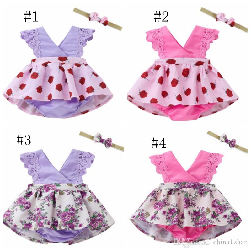 2Pcs Summer Baby Girls Floral Print Sleeveless Spaghetti Strap Dress Hats Outfit