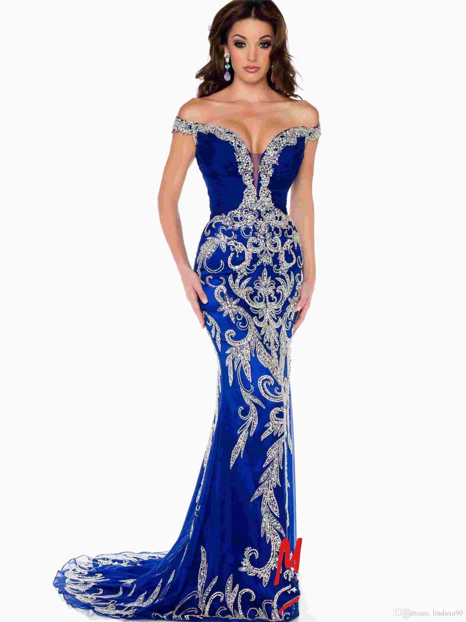 Großhandel Prom Kleider Luxus Designer Abendkleider Aus Der Schulter  Kristall Pailletten Bling Royal Blue Tüll Mermaid Formal Pageant Kleider  Von