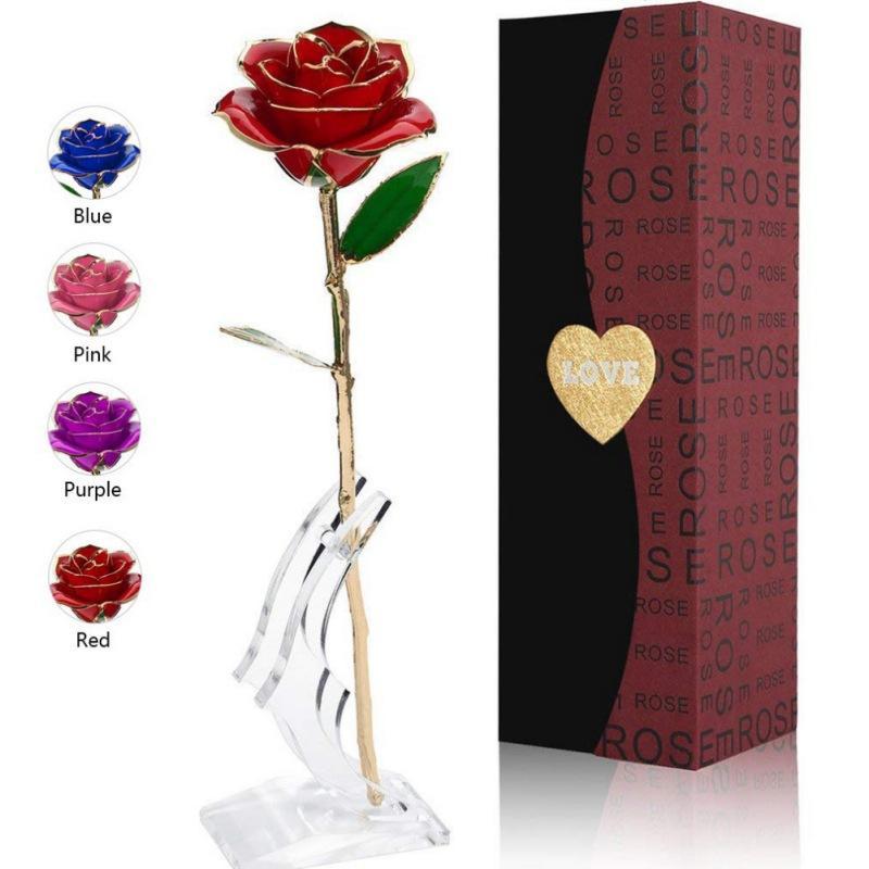 Por inmersión en oro de 24k Rose Partido Eternidad favores con el soporte transparente de la luna de regalos para el día del aniversario de la Madre Día de San Valentín