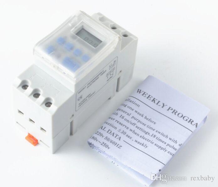 Commutateur programmable 16A rail DIN avec relais de minuterie programmable LCD LCD num/érique AC220V