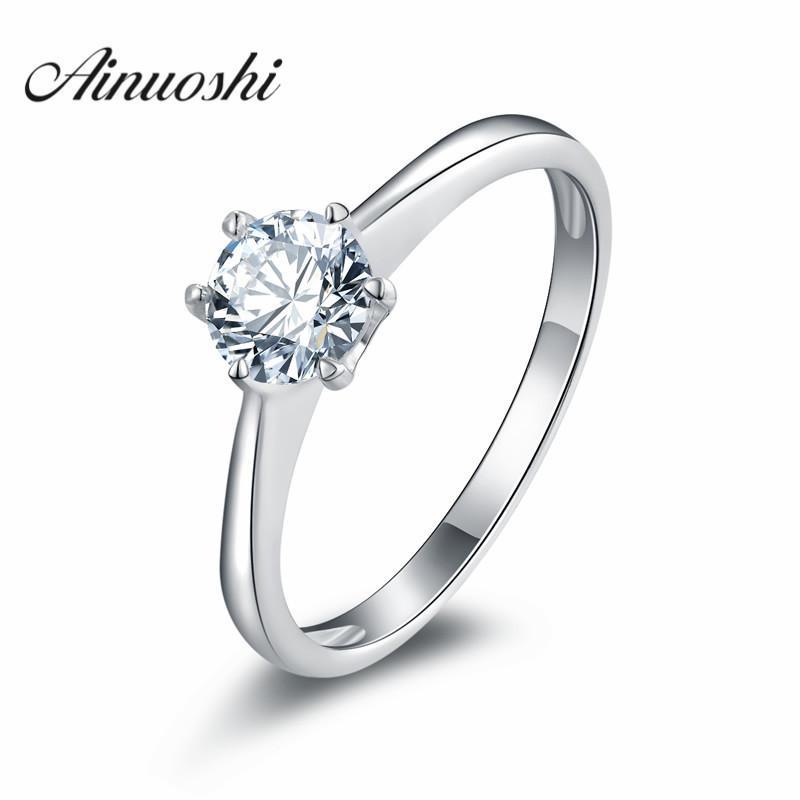 Ainuoshi Anniversary Solitaire Ring Sona Обручальное Кольцо Стерлингового Серебра 925 Обручальное Кольцо Для Женщин Ювелирные Изделия Y19052201