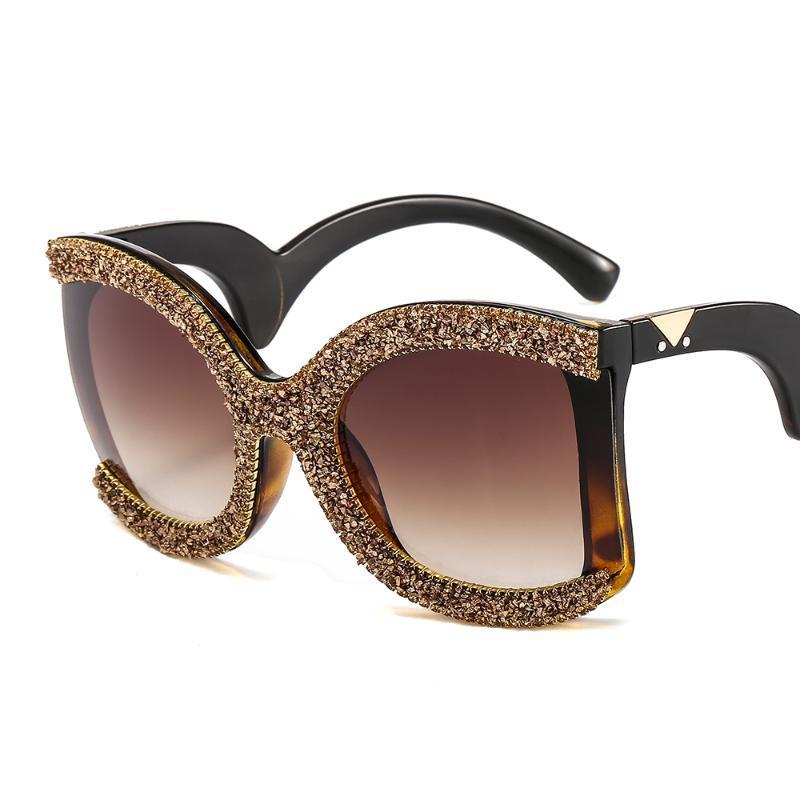 2020 neue Art-moderne Frauen Brille Strass Rahmen Kristall Sonnenbrille Curved Brille Leg Dazzling Gläser für Frauen
