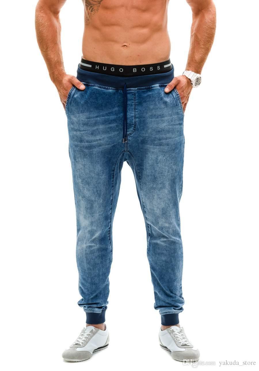 Erkekler denim kot gevşek elastik bel Jean Hip hop yüksek bel kalem harem pantolonlar Erkekler yüksek sokak streç kot pantolon Joggers sığdırmak