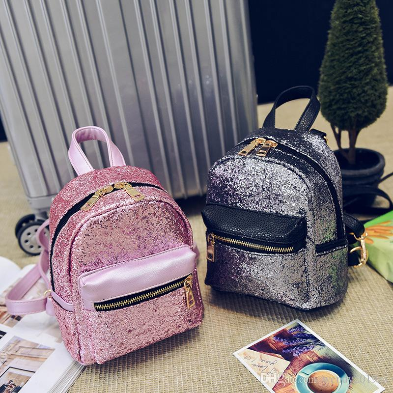 Zaino in pelle delle donne del sacchetto brillante Zaini PU paillettes Mini piccola borsa per adolescenti ragazze Sacchetti di scuola