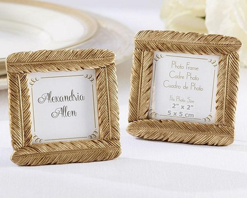 100pcs/Lot+High Quality Gold Resin Feather Photo Frame Baby Shower Favors Wedding Party Giveaway