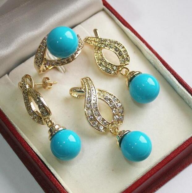Matrimonio femminile da abbinare a bellissimi gioielli + 12mm conchiglia blu pendente di perle, orecchini, anello in argento mujer moda