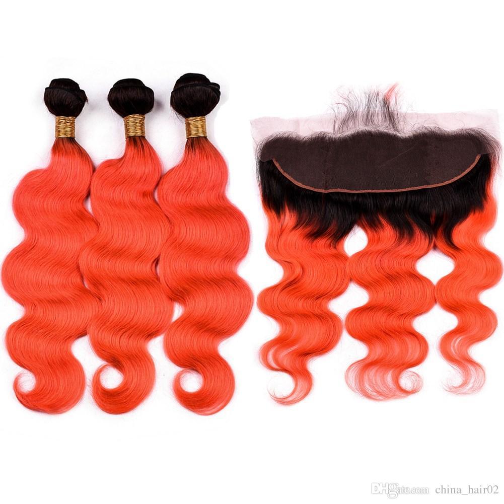 حزم أومبير أورانج الظلام جذور الشعر الهندي مع أمامي # 1B / أورانج أومبير الجسم موجة لحمة شعرة الإنسان نسج مع الرباط أمامي إغلاق 13x4