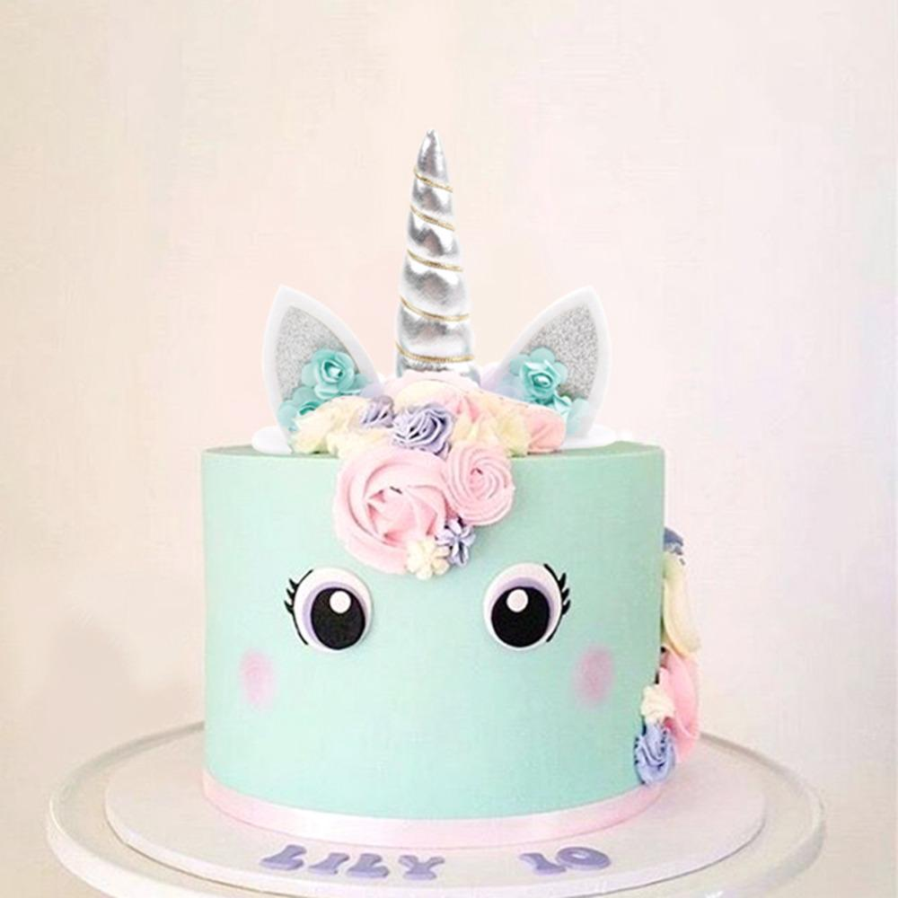 Compre Qifu Unicorn Party Supplies Cake Topper Unicorn Birthday Party Decoration Baby Shower Unicornio Decoración Halloween Babyshower A 483 Del