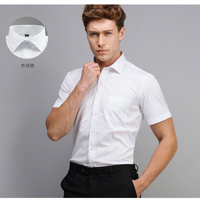 Короткие рукавом Мужские рубашки платья Business White Summer Официальный офис Большой размер 4xl Хлопок Ployester Green белая рубашка платье