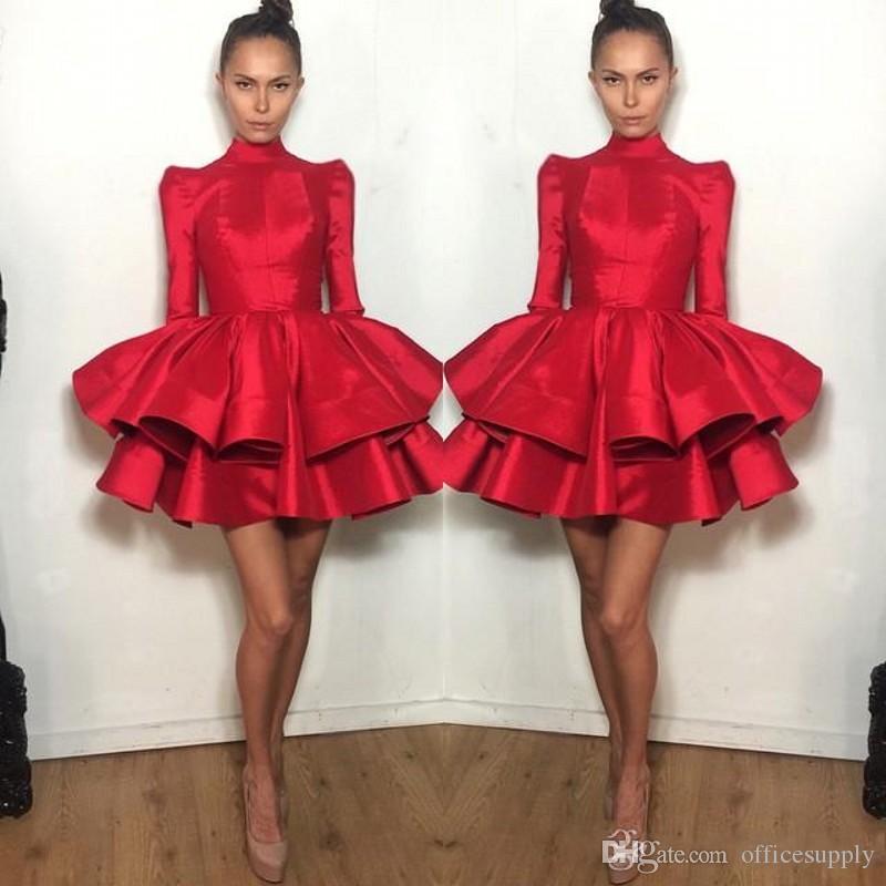 Короткие Коктейль платье красного с длинным рукавом Многоуровневое Ruffled Майкл Костелло Мини Пром платье девушки Homecoming платье