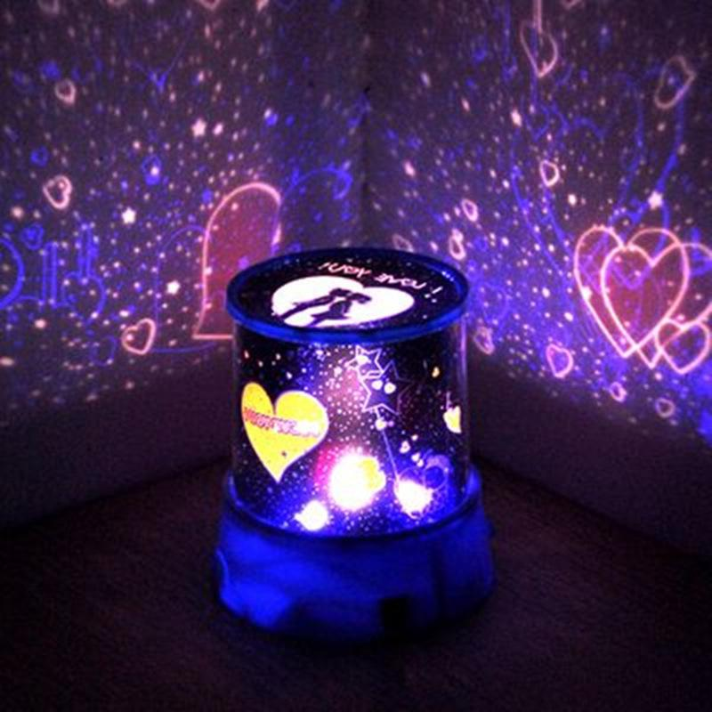 Romantique étoilées Lune projecteur LED Lampes ambiance Mute couleur changeable AC 220 V USB cupidon Lovers Portable Projection Night Light