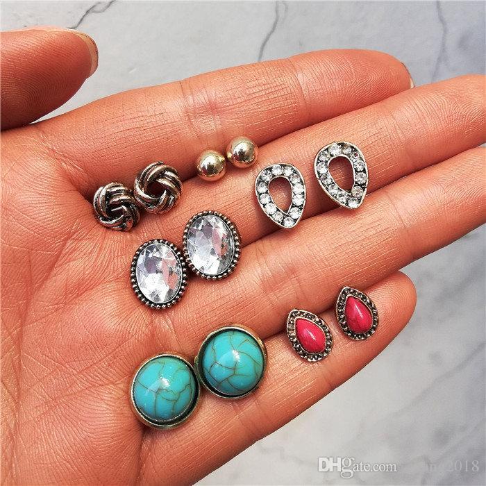 19 arten Mode Vintage Blumen Geometrische Runde Edelstein Ohrstecker Set Böhmischen Bronze Hochzeit Ohrringe Für Frauen Mädchen Schmuck 01 HZSEH002