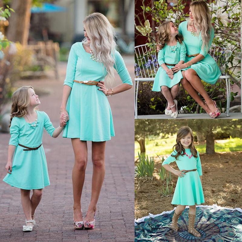 pudcoco Mais recente Hot Elegante mãe família filha Matched Boho Sólidos Casual Vestidos Mulheres Meninas Vestidos de férias Sem Belt