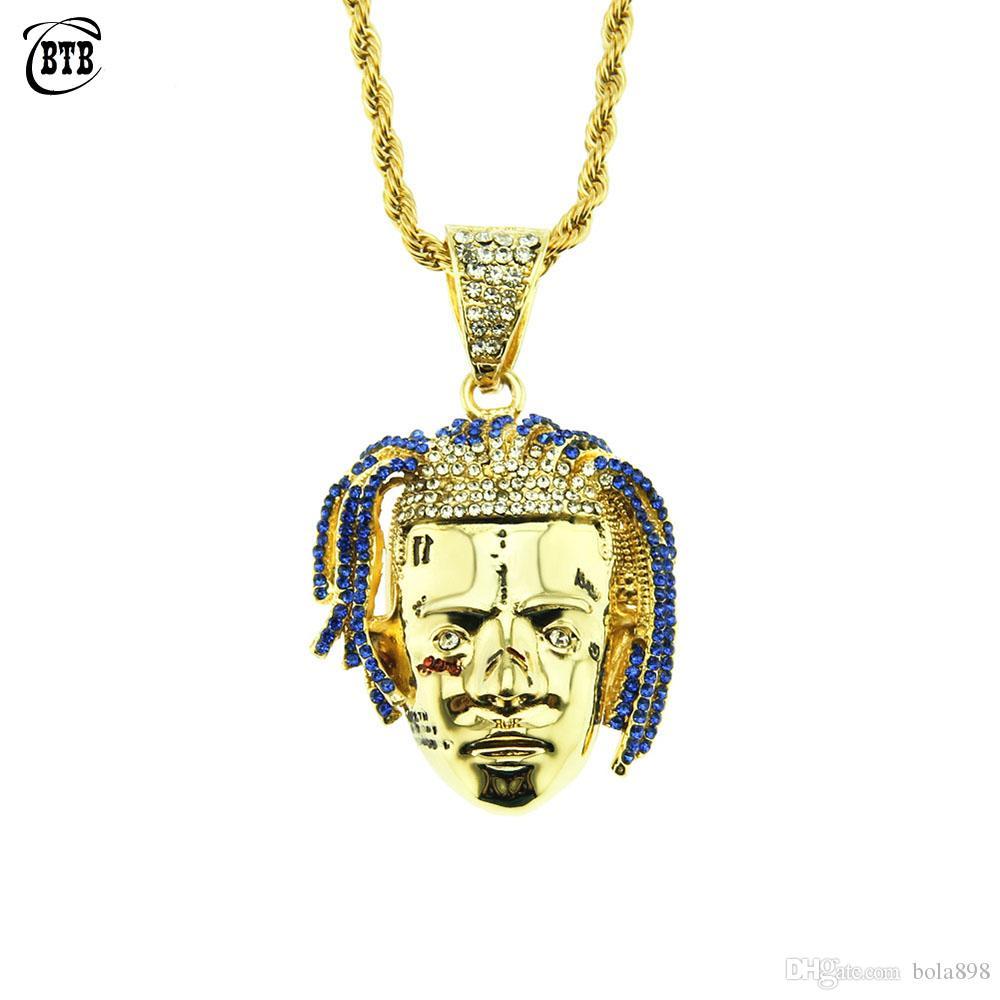Personalizado Rapper Colar Pingente XXXTentacion Homens Iced Out CZ Chains Hip Hop / Punk cor do ouro Presentes encantos Jóias