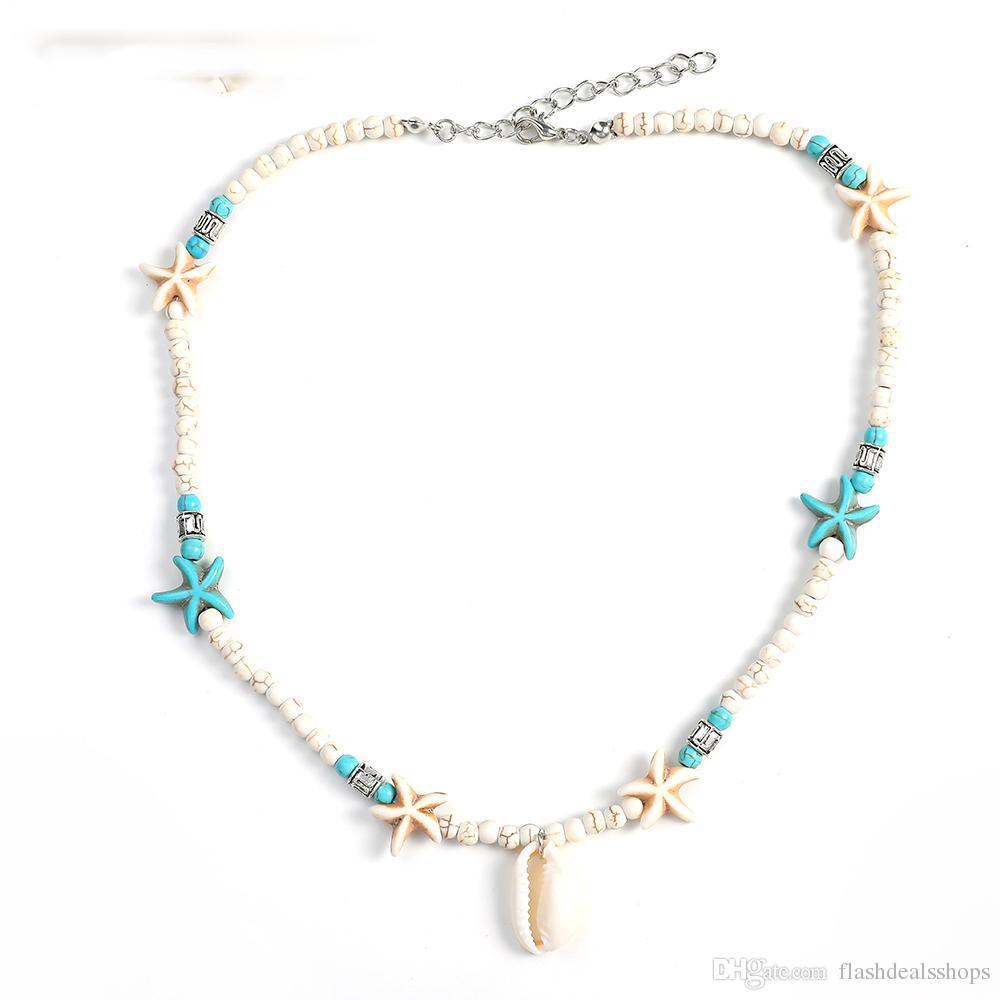 Bohemia de moda de piedra natural Shell estrellas de mar colgante collar de la joyería con cuentas cadena conch choker sexy collar simple para las mujeres