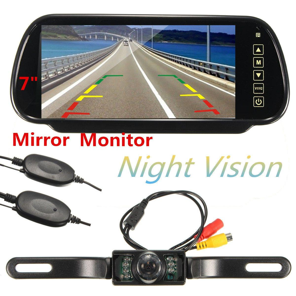 Freeshipping HD 7 بوصة وشاشات الكريستال السائل TFT 1024 * 600 سيارة مرآة مراقب MP5 مع USB / SD نظام الرؤية الخلفية كاميرا لاسلكية وقوف السيارات
