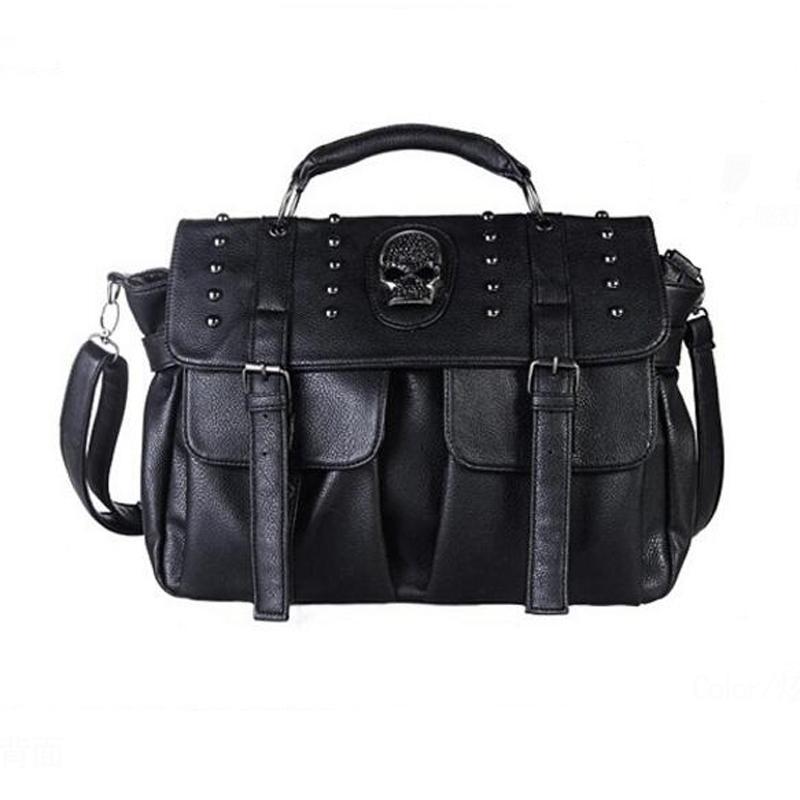 حقائب جديد للدراجات النارية نمط الشرير الجمجمة برشام حقيبة CROSSBODY أسود للسيدات نساء رسول حقائب اليد حقائب جلدية