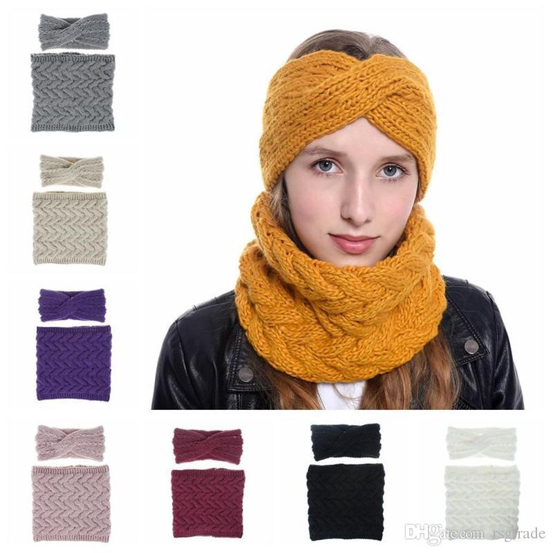 Gratuit DHL Fashion Knit Bandeau Foulard Set Hiver chaud Pure Color Sport Bonneterie Sports Band Cheveux Femme Crochet Echarpes Accessoires cheveux