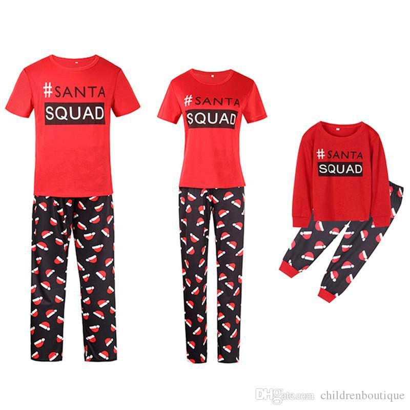 Christmas Family Matching Pajamas Mama Papa Kids Christmas Pajamas Family Look Short Sleeve T-shirt+Pants 2Pcs Sets Outfits Sleepwear Nighty
