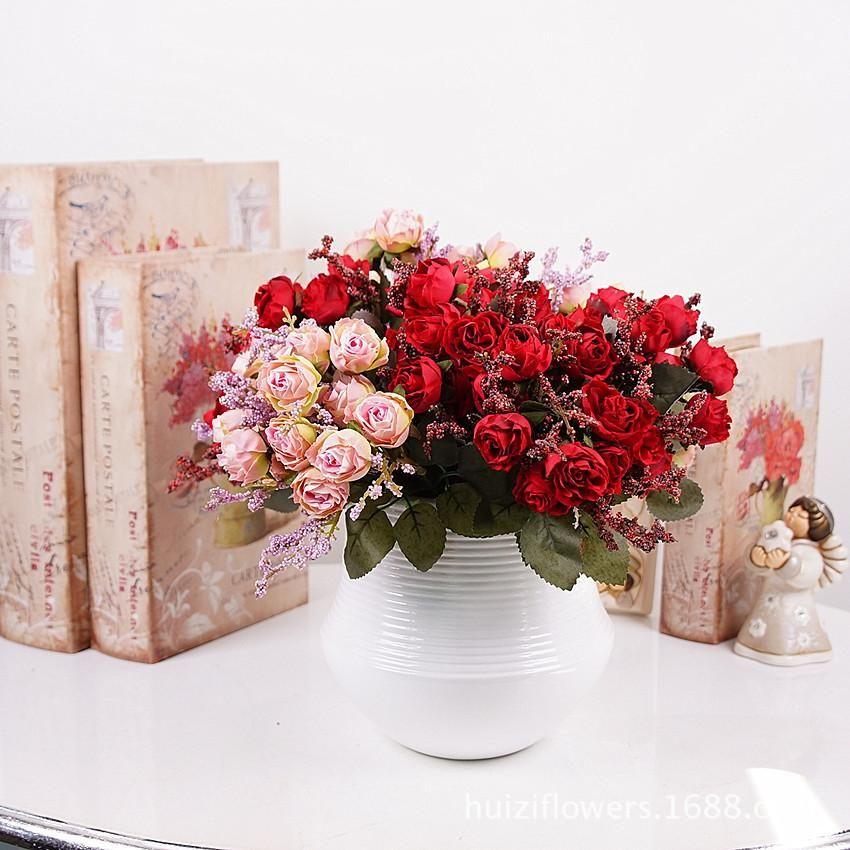 15 filiali flanella Confezione cuore rosa simulazione fiore artificiale qualità Ad alto grado di fornire domestico matrimonio decorare Fiore artificiale