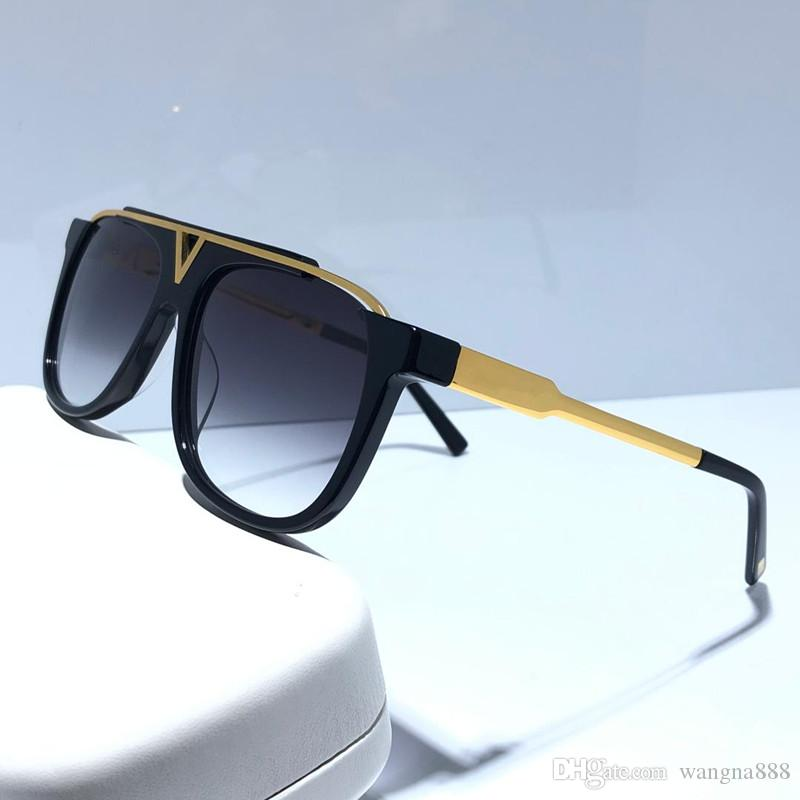 Popular Designer MASCOT Sunglasses For Men Retro Vintage Shiny Gold Summer Style Laser Logo Gold Plated UV400 Eyewear With Case 0936
