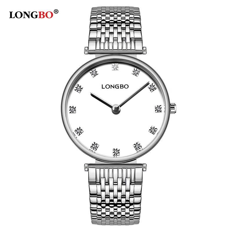 2020 Presentes Longbo marca de moda amantes relógios em aço inoxidável impermeável Mulheres Homens Quartz Relógio de pulso clássico assistir Casal Reloj 5095