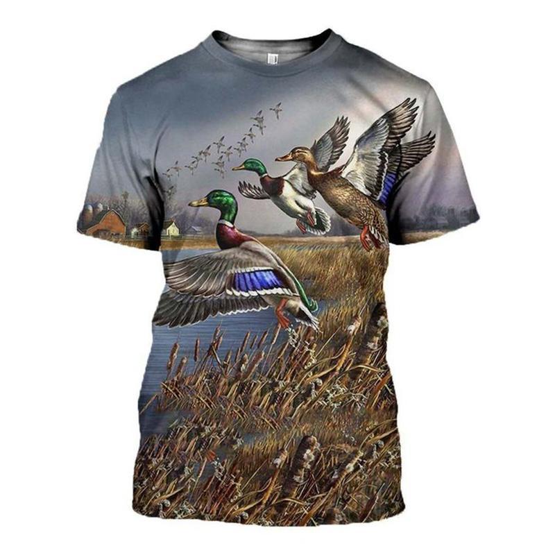 Мужские футболки 2021 Мода Мужчины для женщин 3D Печатная футболка Животное Охотничьи Утка Художественные Тис Шорты Рукав Одежда