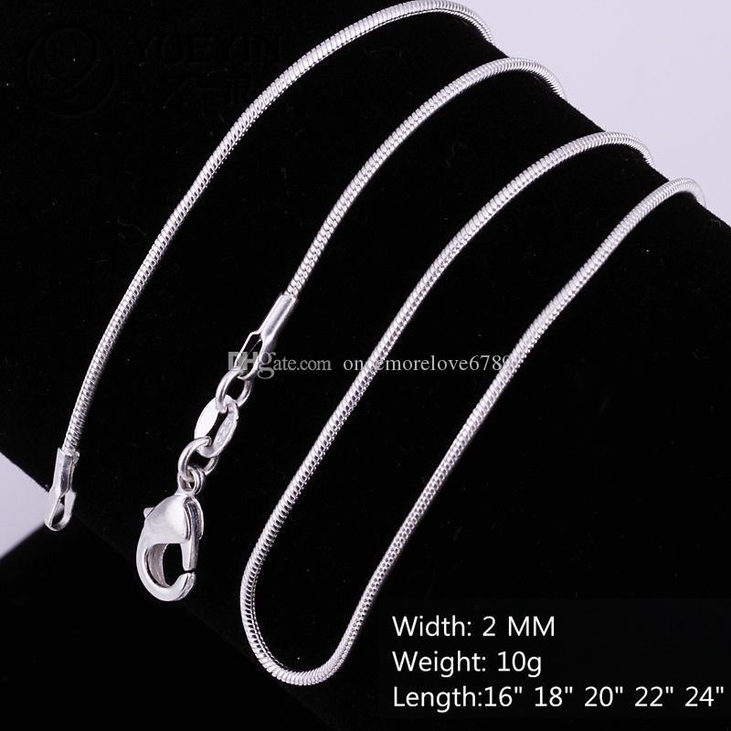 رخيصة بالجملة 925 فضة 2 ملليمتر السلس الأفعى حبل سلاسل القلائد للنساء الرجال الأزياء والمجوهرات في الجزء الأكبر حجم 16-24 بوصة